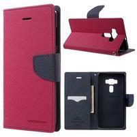 Diary PU kožené puzdro pre mobil Asus Zenfone 3 Deluxe - rose