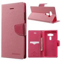 Diary PU kožené pouzdro na mobil Asus Zenfone 3 Deluxe - růžové