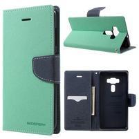 Diary PU kožené puzdro pre mobil Asus Zenfone 3 Deluxe - azúrové