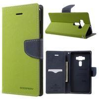Diary PU kožené puzdro pre mobil Asus Zenfone 3 Deluxe - zelené