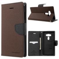 Diary PU kožené puzdro pre mobil Asus Zenfone 3 Deluxe - hnedé