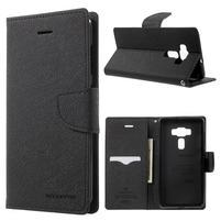 Diary PU kožené puzdro pre mobil Asus Zenfone 3 Deluxe - čierné