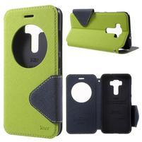 Diary puzdro s okýnkem na mobil Asus Zenfone 3 ZE520KL - zelené