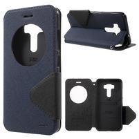 Diary puzdro s okýnkem na mobil Asus Zenfone 3 ZE520KL - tmavěmodré