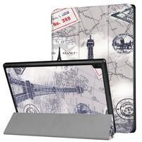 Pattern obrázkové polohovateľné puzdro pre tablet Lenovo Tab 4 10 Plus - Eiffelova veža a mapa