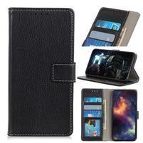 Litchi PU kožené peněženkové puzdro pre mobil Nokia 3.2 - čierne