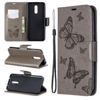 Butterfly PU kožené peněženkové puzdro pre mobil Nokia 3.2 - šedé