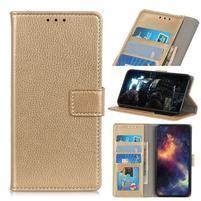 Litchi PU kožené peněženkové puzdro pre mobil Nokia 3.2 - zlaté