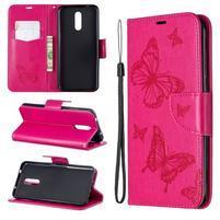 Butterfly PU kožené peněženkové puzdro pre mobil Nokia 3.2 - rose