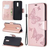Butterfly PU kožené peněženkové puzdro pre mobil Nokia 3.2 - růžovozlaté