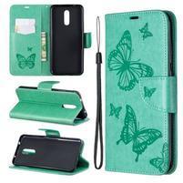 Butterfly PU kožené peněženkové puzdro pre mobil Nokia 3.2 - zelené