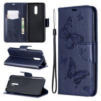 Butterfly PU kožené peněženkové puzdro pre mobil Nokia 3.2 - modré