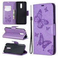Butterfly PU kožené peněženkové puzdro pre mobil Nokia 3.2 - fialové