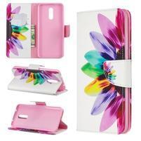 Printy PU kožené peněženkové puzdro na mobil Nokia 3.2 - farebné okvetné lístky