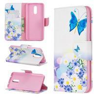 Printy PU kožené peněženkové puzdro na mobil Nokia 3.2 - modrý motýľ a kvety