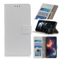 Litchi PU kožené peněženkové puzdro pre mobil Nokia 3.2 - biele