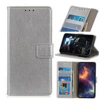 Litchi PU kožené peněženkové puzdro pre mobil Nokia 3.2 - strieborné