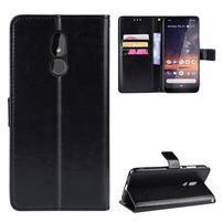 Horse PU kožené peněženkové puzdro na mobil Nokia 3.2 - čierne