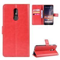 Horse PU kožené peněženkové puzdro na mobil Nokia 3.2 - červené