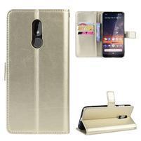 Horse PU kožené peněženkové puzdro na mobil Nokia 3.2 - zlaté