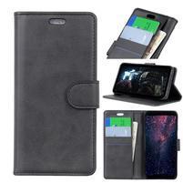 Matte PU kožené peněženkové puzdro na mobil Nokia 7.1 - čierne