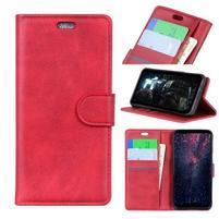 Matte PU kožené peněženkové puzdro na mobil Nokia 7.1 - červené