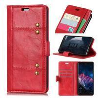 Rivet PU kožené peněženkové puzdro na mobil Nokia 7.1 - červené