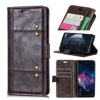 Rivet PU kožené peněženkové puzdro na mobil Nokia 7.1 - hnedé