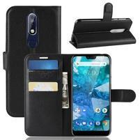 Litchi PU kožené peněženkové puzdro na mobil Nokia 7.1 - čierne