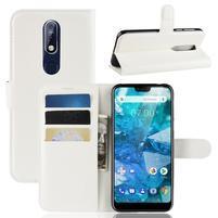 Litchi PU kožené peněženkové puzdro na mobil Nokia 7.1 - biele