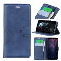 Matte PU kožené peněženkové puzdro na mobil Nokia 7.1 - modré