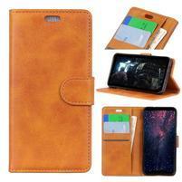 Matte PU kožené peněženkové puzdro na mobil Nokia 7.1 - hnedé