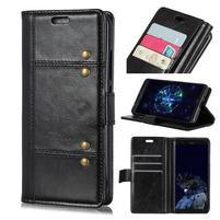 Rivet PU kožené peněženkové puzdro na mobil Nokia 7.1 - čierne