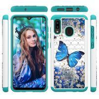 Patterned odolný obal na mobil Samsung Galaxy A20 / Galaxy A30 - modrý motýľ