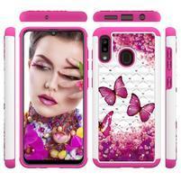 Patterned odolný obal na mobil Samsung Galaxy A20 / Galaxy A30 - rose motýle
