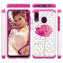Patterned odolný obal na mobil Samsung Galaxy A20 / Galaxy A30 - rose