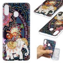 Pattern gélový obal na Samsung Galaxy M20 - kvety a slon