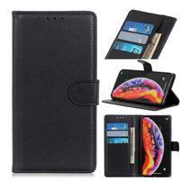 Litchi PU kožené peněženkové puzdro na mobil Samsung Galaxy M20 - čierne