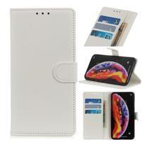 Litchi PU kožené peněženkové puzdro na mobil Samsung Galaxy M20 - biele