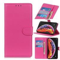 Litchi PU kožené peněženkové puzdro na mobil Samsung Galaxy M20 - ružové