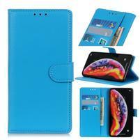 Litchi PU kožené peněženkové puzdro na mobil Samsung Galaxy M20 - modré