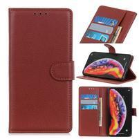 Litchi PU kožené peněženkové puzdro na mobil Samsung Galaxy M20 - hnedé