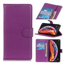 Litchi PU kožené peněženkové puzdro na mobil Samsung Galaxy M20 - fialové