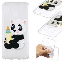 Pattern gélový obal na Samsung Galaxy M20 - panda a fľaška