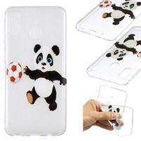 Pattern gélový obal na Samsung Galaxy M20 - panda hrajúci futbal