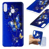 Pattern gélový obal na Samsung Galaxy M20 - modrý motýľ