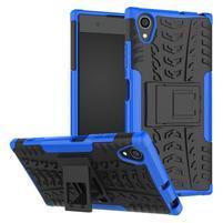 Kickstand odolný hybridný obal na mobil Sony Xperia XA1 Plus - modrý