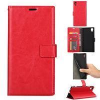 Crazy PU kožené peněženkové puzdro na mobil Sony Xperia XA1 Plus - červený