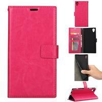 Crazy PU kožené peněženkové puzdro na mobil Sony Xperia XA1 Plus - rose
