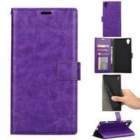 Crazy PU kožené peněženkové puzdro na mobil Sony Xperia XA1 Plus - fialový